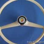 Original Fiat Lenkrad mit ABARTH-Hupenknopf, neu mit Leder bezogen und sauber vernäht